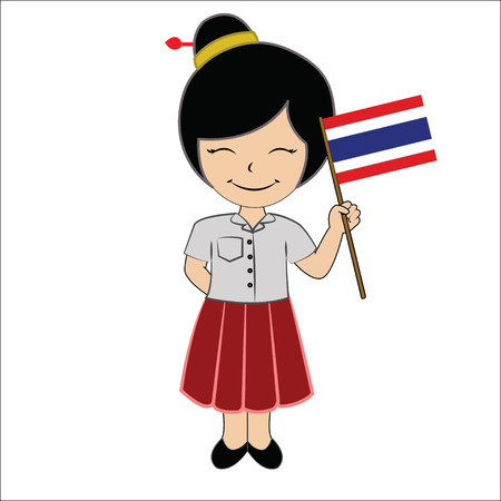 Cartoon girl student ASEAN Thailand. Stock Photo