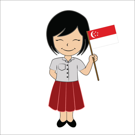asean: Cartoon girl student ASEAN Singapore.