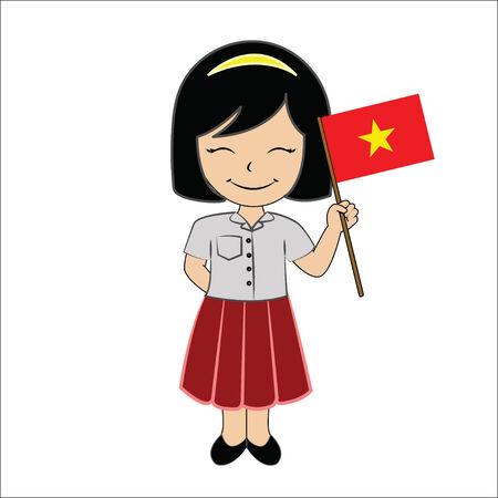 Cartoon girl student ASEAN Vietnam. Stock Photo