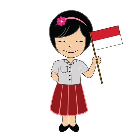 Cartoon girl student ASEAN Indonesia