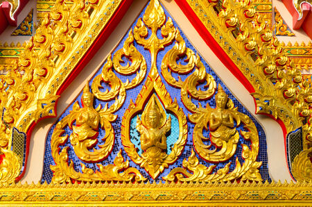 Art of roof Tha style temple. photo