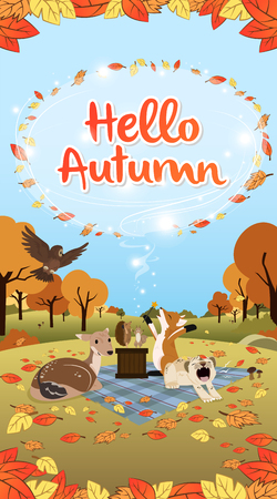 Autumn greetings illustrated with season animals long version