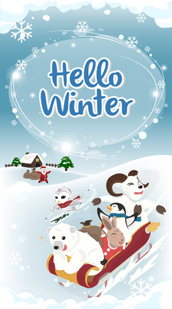 Winter greeting Hello winter card long version