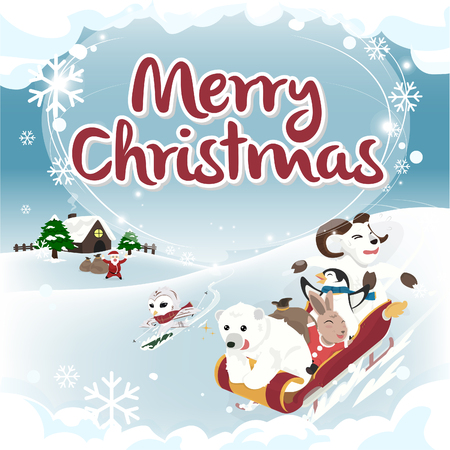 Winter greeting Merry Christmas card square version Illustration