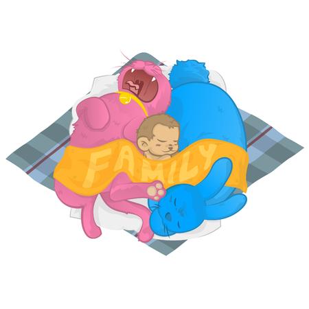 Cat Dog Monkey family sleeping together sharing one blanket