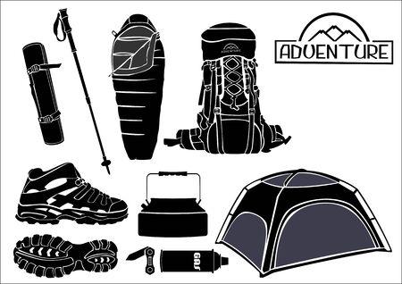 sleeping bags: image hiking equipment Illustration