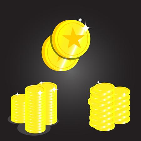 Set van gouden munten iconen. Stock Illustratie