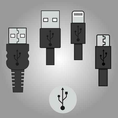 USB icons set