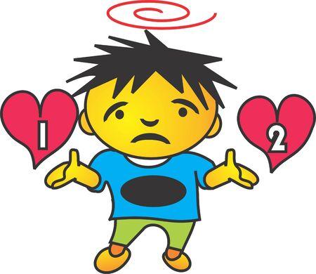 erg moeilijk om te kiezen tussen twee hart Stock Illustratie