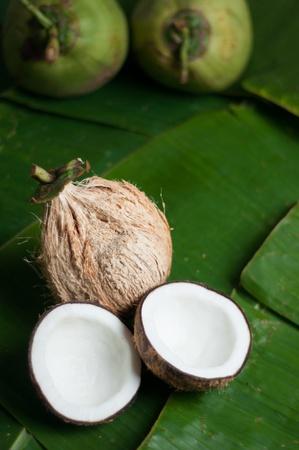two halfs on banana leaf photo