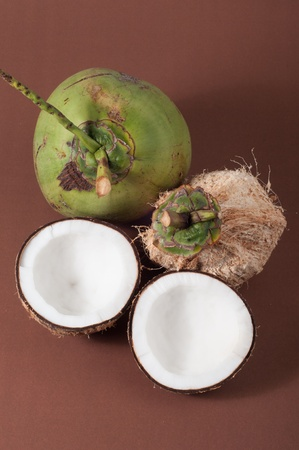Two halfs of coconut Stock Photo