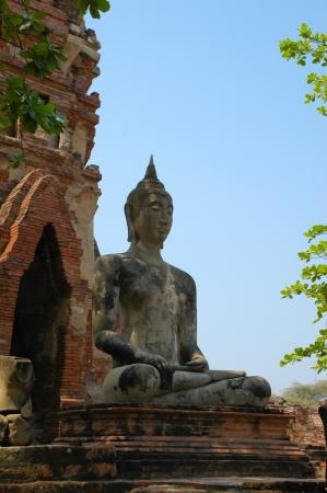 Ancient image buddha statue in Ayutthaya Thailand Stock Photo