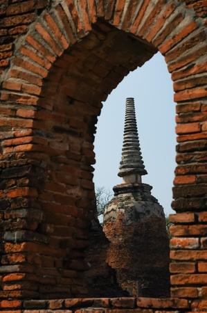 The stupa buddha and sky at Ayutthaya Thailand Stock Photo