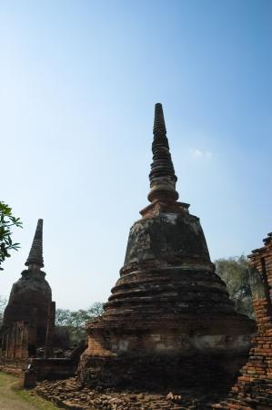 The stupa buddha and collapse at Ayutthaya