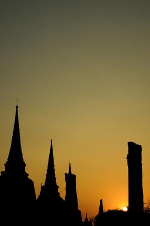The stupa buddha and sunset at Ayutthaya Thailand