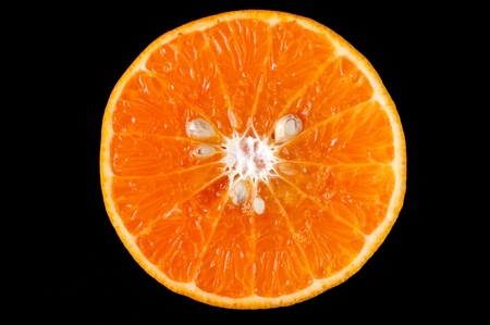Fresh orange and a black background photo