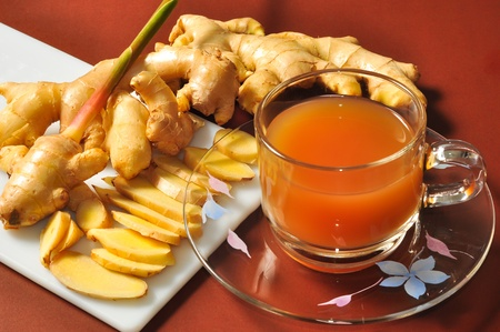 ginger root and ginger tea Stock Photo