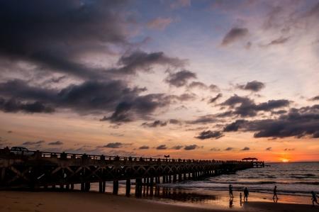 woody bay: bridge in amazing sunrise Stock Photo
