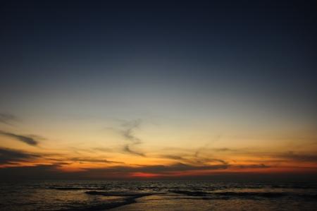 Beach in the evening sky
