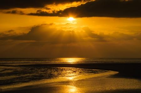 Solar beach in the evening photo