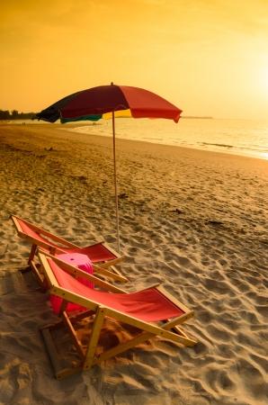 Beach chair umbrella in the evening