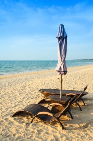 Umbrellas and beach chairs Thailand