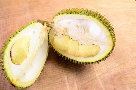 Durian fruit basket on wood background