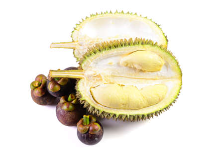 Durian fruit basket on a white background