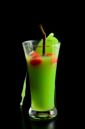 Guava shake drink in glass and tomato photo