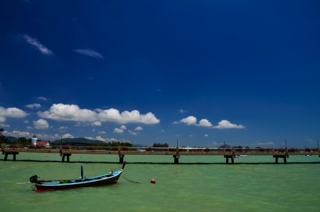 pristine coral reef: Fishing boats at the beach