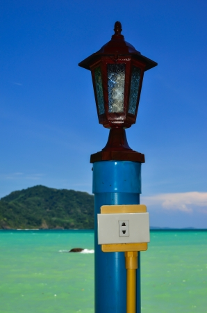 pristine coral reef: Light pole at the beach