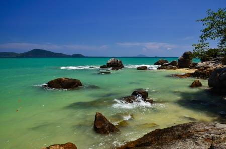 Sand rocks and beautiful blue sky