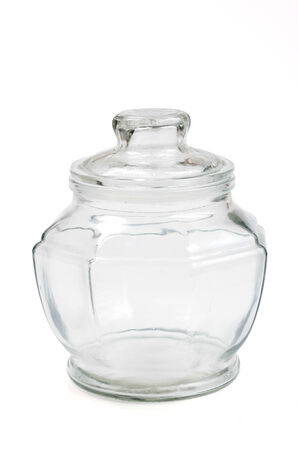 Empty glass transparent jar