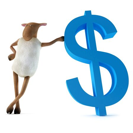 spending money: Sheepy a funny character who likes to spending money  Stock Photo