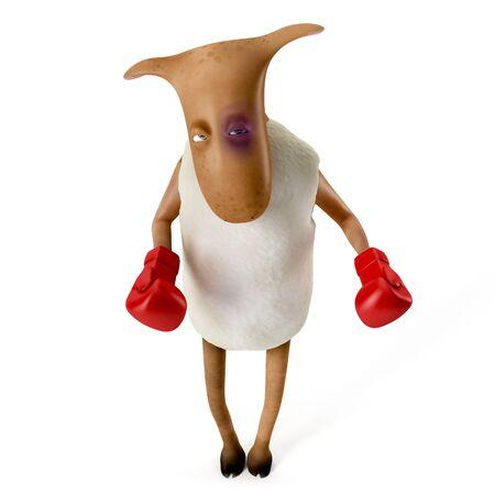 sheepy: Sheepy a funny character who likes to play boxing  Stock Photo
