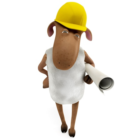 Sheepy a funny character who is very good engineer  Stock Photo - 12826197