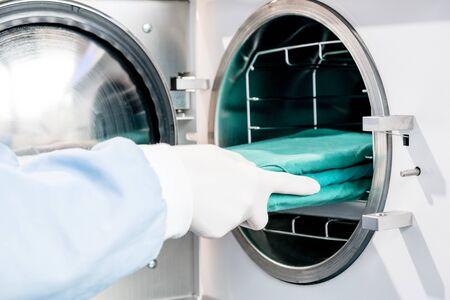 macchina sterilizzatrice in autoclave per la pulizia degli strumenti dentali. classe B, alta qualità. Archivio Fotografico