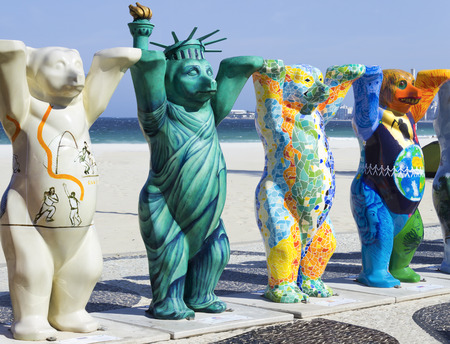tolerancia: RIO DE JANEIRO - BRAZIL 9 June 2014 - United Buddy Bears - Art tolerance - Leme Beach Editorial