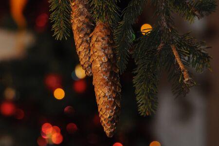 Beautiful decorated Christmas tree. Stock Photo