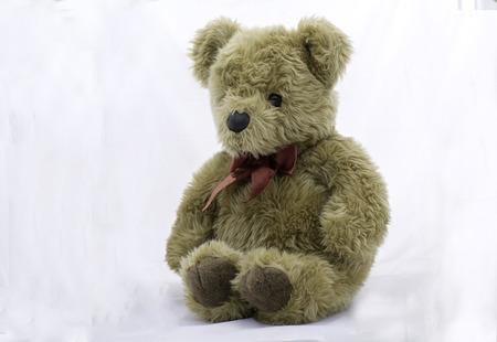 stuffed toy bear  on a white background Stock Photo