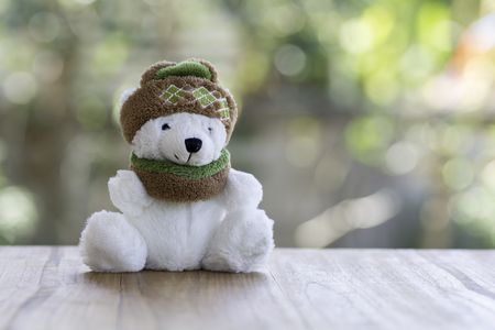 Teddy bear wearing a bobble hat and  yarn scarf on the background bokeh.