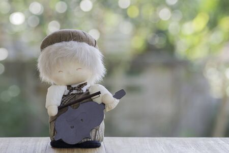 Doll Violinist on wood and background bokeh.
