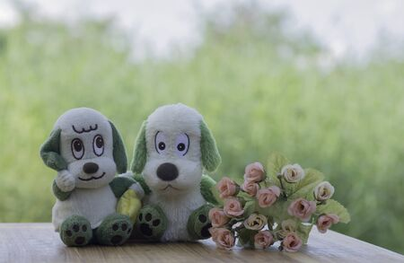Dog Doll with a bouquet of roses on a background blur