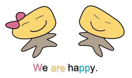 We zijn blij aardappel hoofd cartoon.