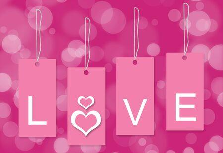 핑크 사랑 태그 흰색 배경 스톡 콘텐츠