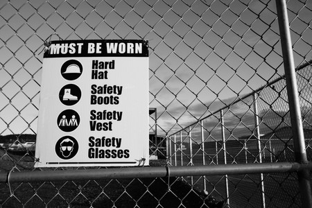 work: Site safety signs construction site for health and safety, black and white style. Stock Photo