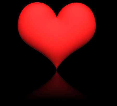 reflection: heart on black background with reflection Stock Photo