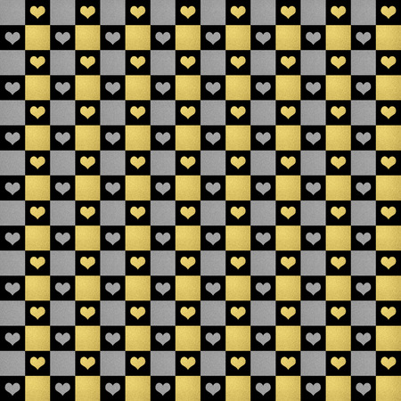 silver texture: black, gold  silver hearts pattern seamless, texture background Stock Photo