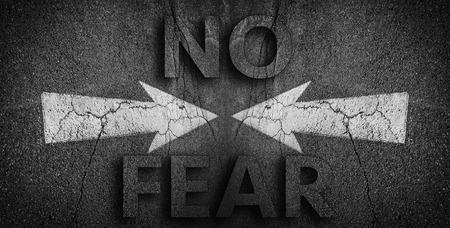 no fear: No Fear written on road Stock Photo