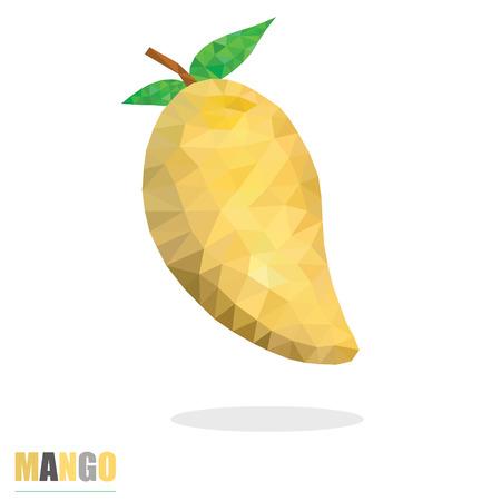 mango fruta: rasgar ilustraci�n aislado poligonal fruta del mango en el fondo blanco
